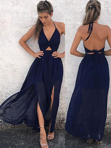 Custom Made Navy Blue Backless Prom Dress, Dark Blue Backless Formal Dress