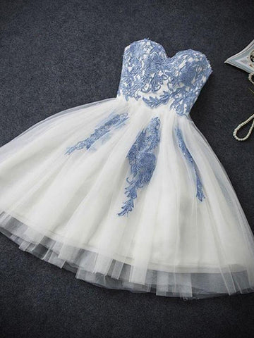 Short White Prom Dress with Blue Lace Applique, Blue Lace Formal Dress, Graduation Dress, Homecoming Dress