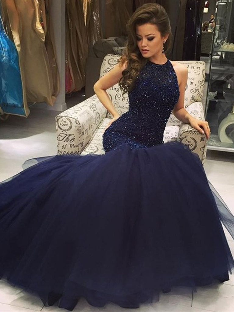 Custom Made Dark Navy Blue Mermaid Prom Dresses, Navy Blue Formal Dresses