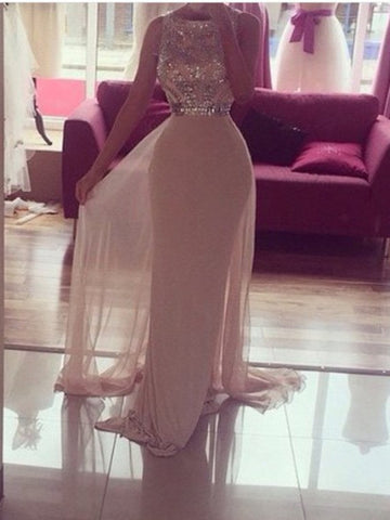 Custom Made A Line Round Neck Long Prom Dress, Long Formal Dresses, Evening Dresses