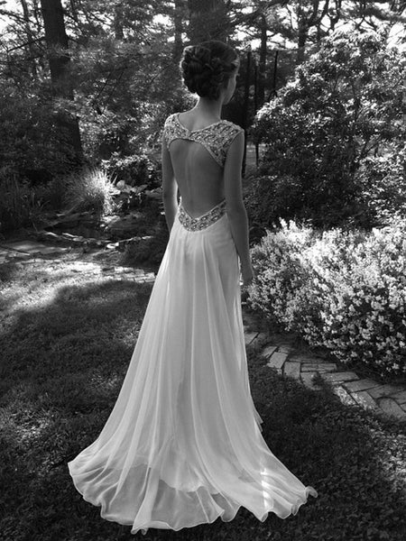 A line Ivory Backless Wedding Dresses, Long Backless Prom Dresses