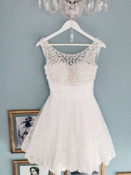 Round Neck White Short Lace Prom Dresses, White Short Lace Homecoming Dresses,White Short Lace Homecoming Dresses Graduation Dress