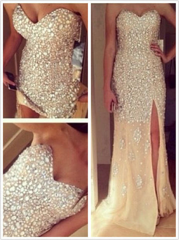 A Line Sweetheart Neck Long Prom Dresses, Long Formal Dresses
