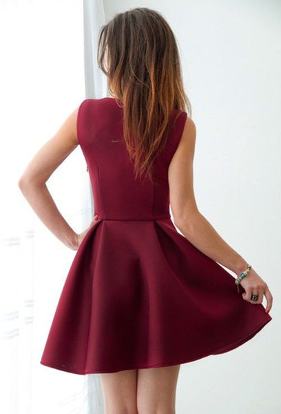 A Line Sweetheart Neck Maroon Prom Dress, Short Maroon Homecoming Dress, Formal Dresses, Maroon Graduation Dresses
