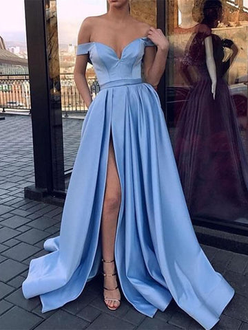 Off Shoulder Light Blue High Slit Prom Dresses, Off Shoulder Formal Dresses, Graduation Dresses