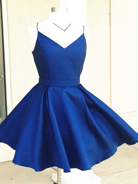 A Line V Neck Short Blue/Burgundy Prom Dress, Mini Graduation Dress, Homecoming Dress
