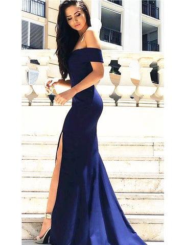 Custom Made Off Shoulder Navy Blue Prom Dress with Slit, Navy Blue Formal Dress