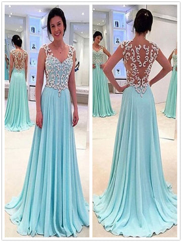 Custom Made A Line Sweetheart Neck Long Blue Prom Dress, Formal Dress