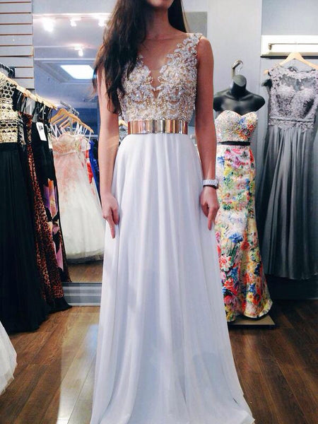 A Line Round Neck White Chiffon Prom Dress, Wedding Dress, Formal Dresses
