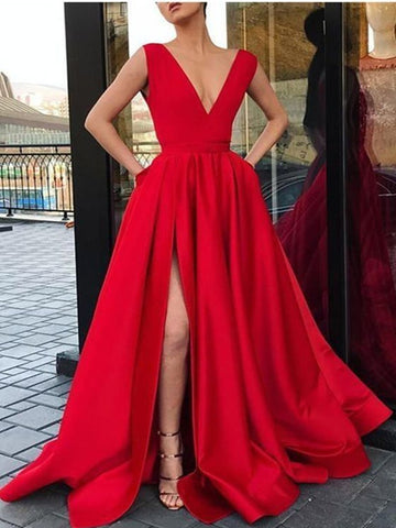 Custom Made A Line V Neck Red Prom Dress with High Slit, Red Formal Dresses, Graduation Dresses