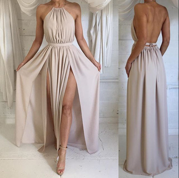 Custom Made A Line High Neck Backless Long Prom Dress, Long Formal Dress, Bridesmaid Dress