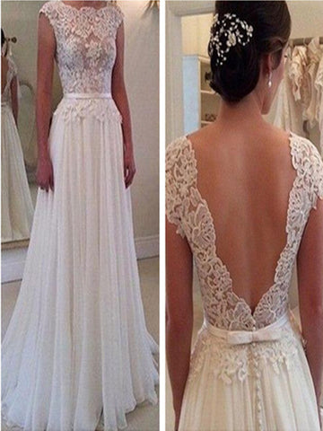 Custom Made A Line Round Neck Backless White Lace Prom Dress, Wedding Dress, Formal Dress