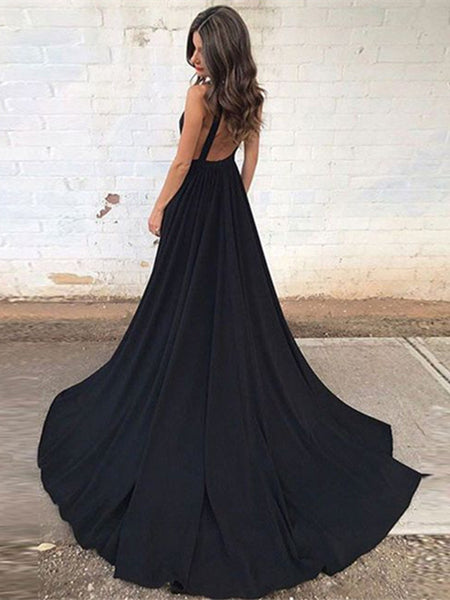 Elegant V Neck Black Backless Prom Dress with Train, Black Backless Formal Dress, Graduation Dress