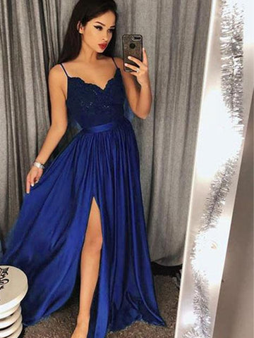 Custom Made A Line V Neck Royal Blue Lace Prom Dresses, Royal Blue Lace Formal Dresses, Evening Dresses