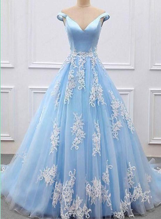 00849a9ccf8c ... Off Shoulder Light Blue Prom Dress with Lace Applique, Prom Gown, Light  Blue Formal ...