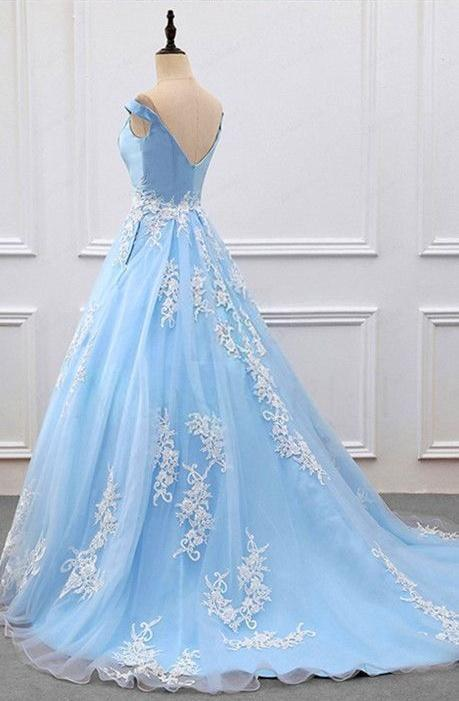 Off Shoulder Light Blue Prom Dress With Lace Applique