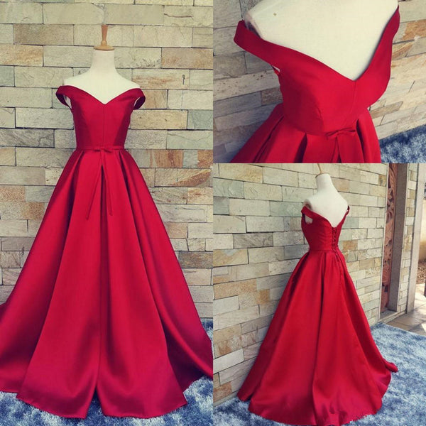 Custom Made Red Off Shoulder Long Prom Gown, Red Prom Dresses, Long Red Formal Dresses