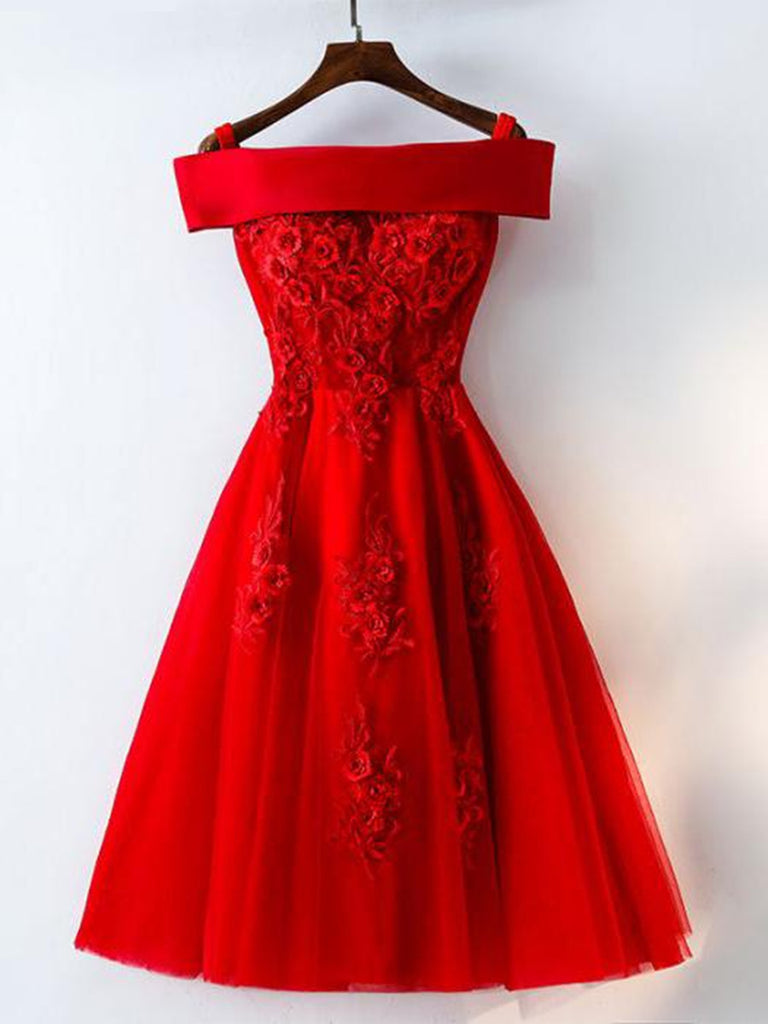 7f6a6ae7a3 Cute A Line Off Shoulder Short Red Lace Prom Dresses