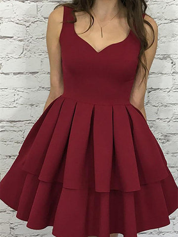 Custom Made Sweetheart Neck Short Burgundy Prom Dress, Short Burgundy Formal Dress, Graduation Dress, Homecoming Dress