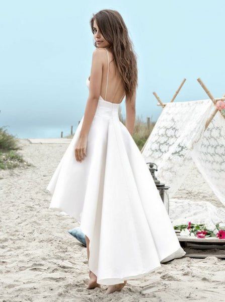 White A Line High Low Backless Wedding Dresses, High Low Wedding Dresses. Backless Prom Dresses
