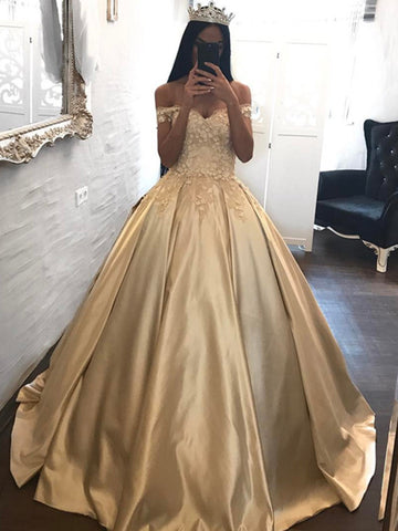 Custom Made Off Shoulder Golden Lace Ball Gown, Golden Formal Dresses, Birthday Party Dresses, Prom Gown