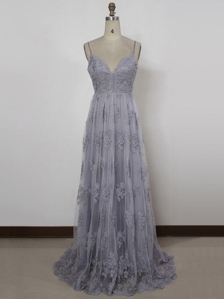 A Line Spaghetti Straps Backless Gray Lace Prom Dresses, Gray Backless Formal Dresses, Backless Lace Evening Dresses