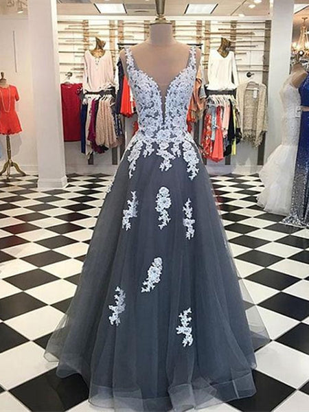 A Line Round Neck Gray Tulle Lace Prom Dresses, Gray Tulle Lace Graduation Dresses, Formal Dresses
