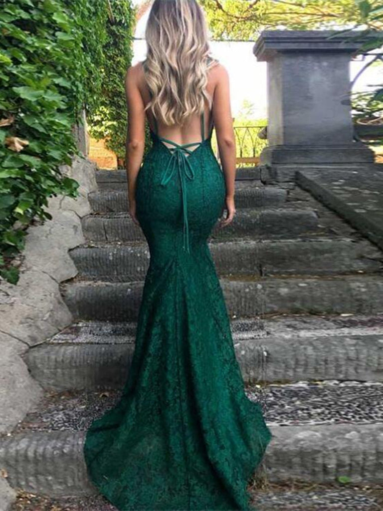 Sexy Spaghetti Straps Trumpet/Mermaid Dark Green Lace Prom Dress/ Formal Dress/ Bridesmaid Dress