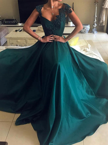 A Line V Neck Dark Green Lace Prom Dresses, Dark Green Formal Dresses, Graduation Dresses