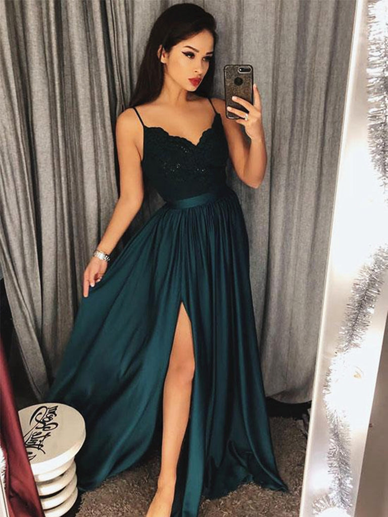 A Line V Neck Dark Green Lace Prom Dress with Slit, Dark Green Lace Formal Dress, Lace Evening Dress