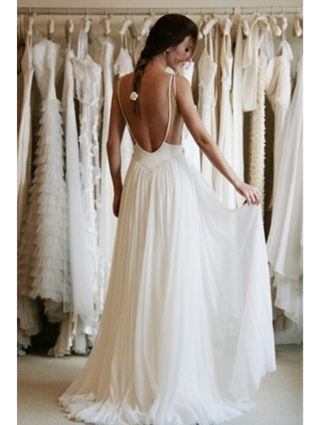 A Line Ivory Backless Lace Wedding Dresses, Backless Lace Prom Dresses