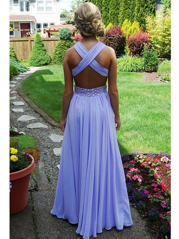 A-line Straps Cross-back Floor Length Lilac Prom Dress, Purple Formal Dress