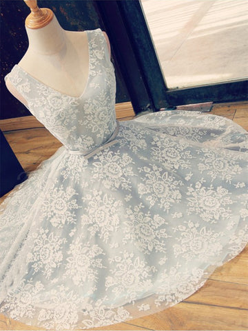 A Line V Neck Short Lace Prom Dresses, Homecoming Graduation Dresses, Short Lace Bridesmaid Dresses