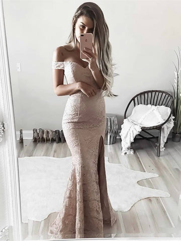 Off Shoulder Mermaid Lace Prom Dresses with Slit, Lace Formal Dresses