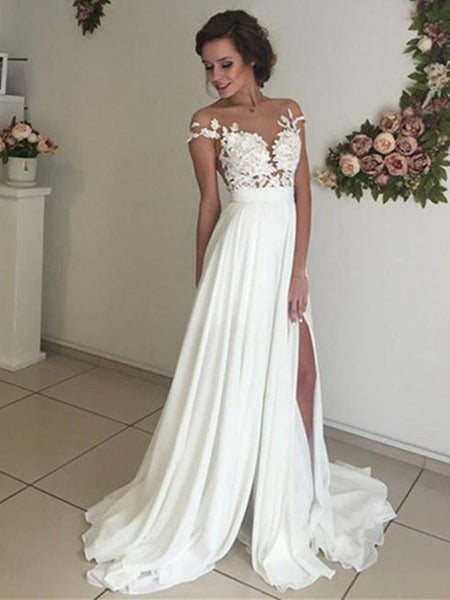 A Line See Through Ivory Lace Wedding Dresses, Ivory Lace Prom Dresses, Formal Dresses, Beach Wedding Dresses