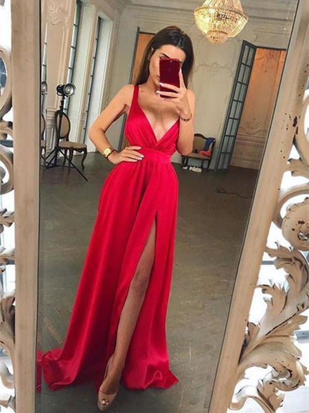 Long A Line V Neck Red Prom Dress with Slit, V Neck Red Formal Dress, Red V Neck Bridesmaid Dress