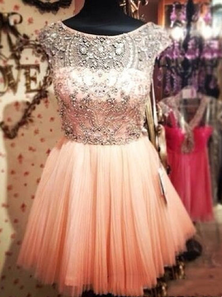 Custom Made Round Neck Short Prom Dress, Short Graduation Dress, Short Homecoming Dress