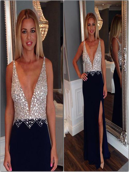 Custom Made A Line V Neck Black Long Prom Dress, Black Formal Dress
