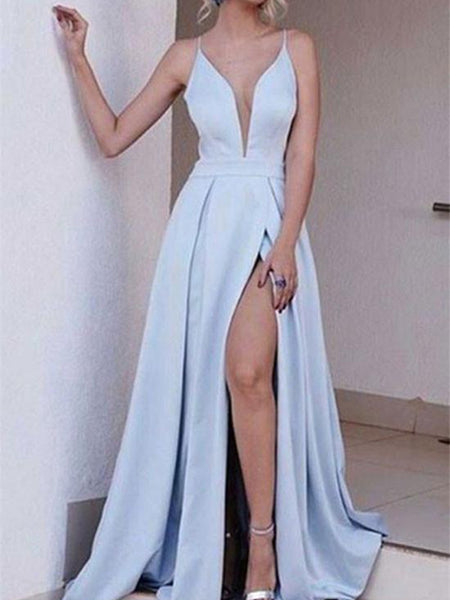 Sexy Light Blue V Neck Prom Dress, V Neck Formal Dress, Blue Graduation Dress