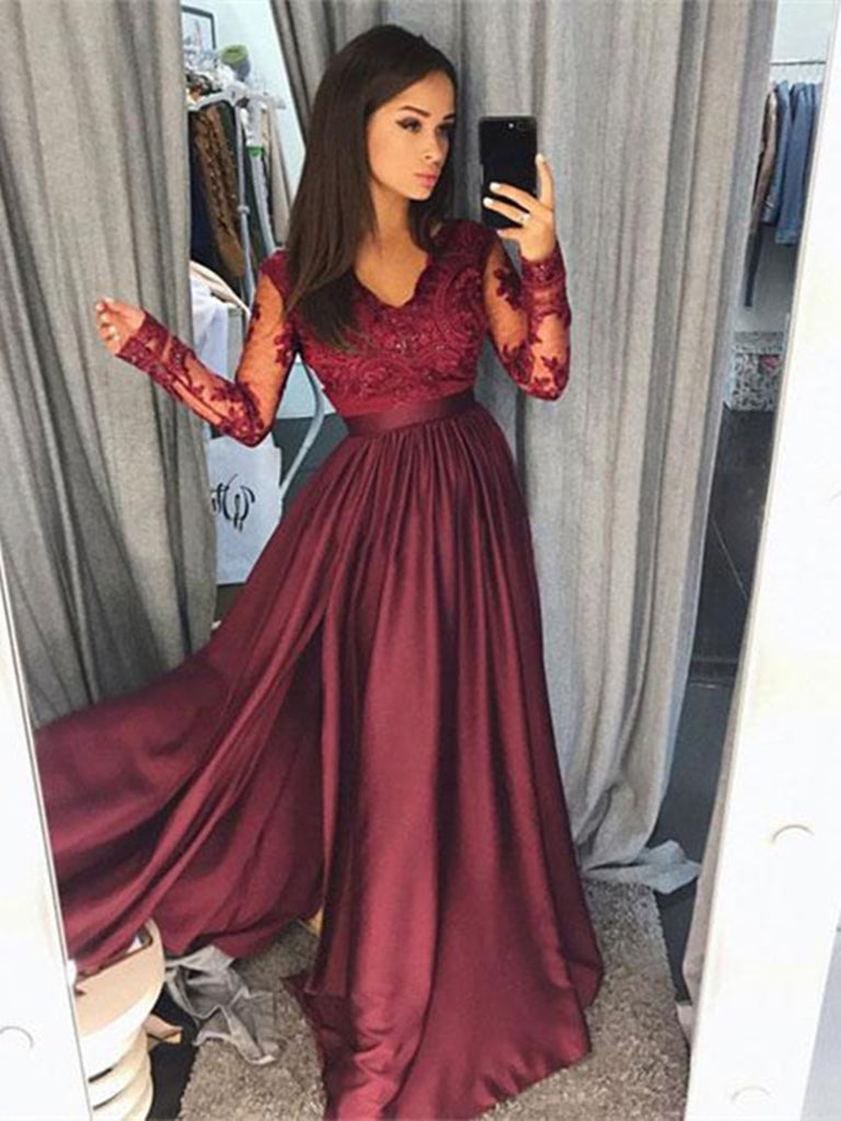 62f45d9432 A Line Long Sleeves Burgundy Pink Navy Blue Lace Prom Dresses