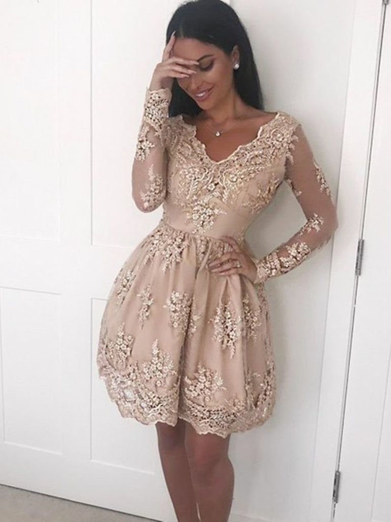 ff0ff0b82be A Line V Neck Long Sleeves Champagne Lace Short Prom Dresses ...