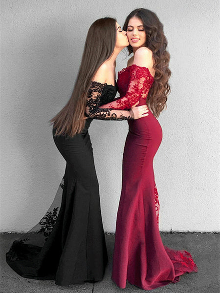 Elegant Black/Burgundy Mermaid Long Sleeves Lace Prom Dress, Lace Bridesmaid Dress, Mermaid Formal Dresses