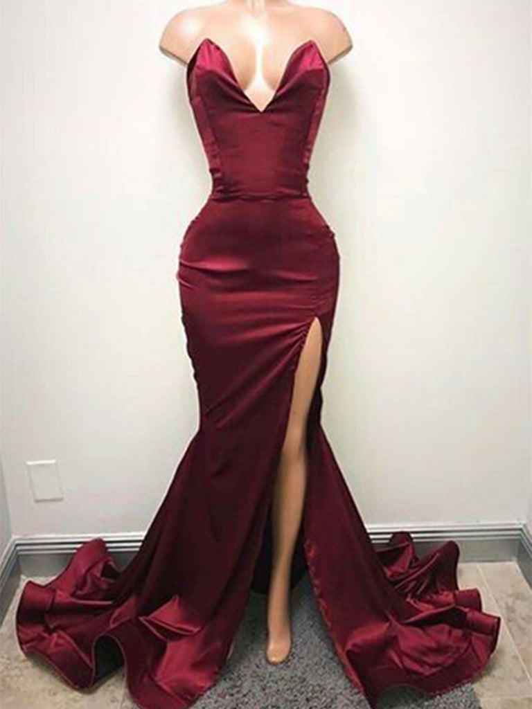 Custom Made Mermaid Maroon Prom Dresses, Mermaid Formal Dresses, Burgundy Graduation Dresses
