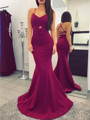 Spaghetti Straps Mermaid Prom Dresses, Mermaid Graduation Dresses, Formal Dresses
