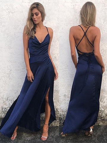 A Line Navy Blue Backless Prom Dress with Slit, Navy Blue Backless Formal Dress, Backless Graduation Dress