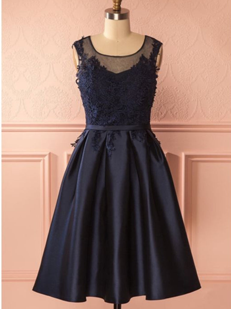A Line Round Neck Short Navy Blue Lace Prom Dresses, Navy Blue Lace Formal Dresses, Homecoming Graduation Dresses