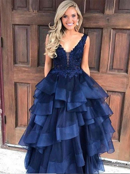 V Neck Navy Blue Lace Prom Dress, Lace Prom Gown, Dark Blue Evening Dress