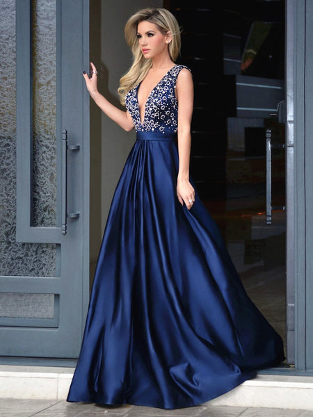 Newest Sleeveless Blue V Neck Open Back Prom Dresses, V Neck Formal Dress, Graduation Dress