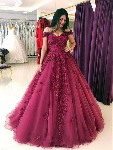 Off Shoulder Burgundy Lace Prom Gown, Burgundy Lace Formal Dresses, Evening Dresses