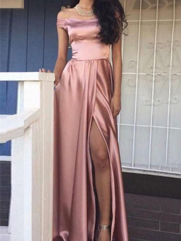 Custom Made A Line Off Shoulder Prom Dress with Slit, Off Shoulder Formal Dresses, Graduation Dresses